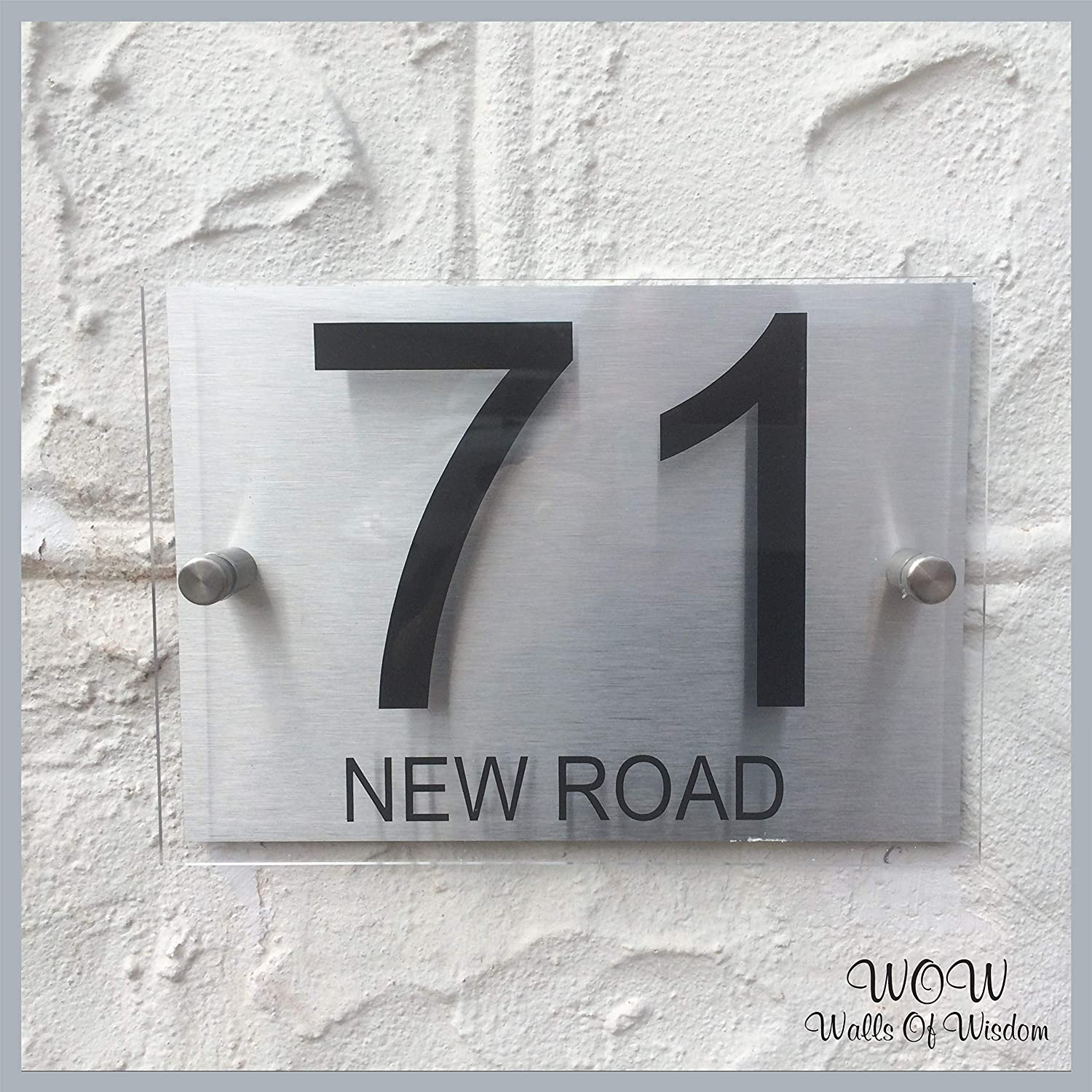 Walls of Wisdom Modern House Number Plaque Sign, Glass Effect Acrylic With Brushed Aluminum Backing Plate A5 Size Personalised House Number And Street Name …