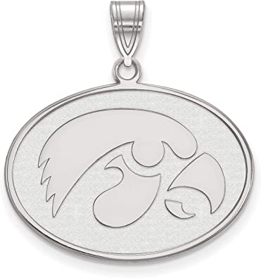 Solid 925 Sterling Silver with Gold-Toned University of Iowa Small Pendant with Necklace 9mm