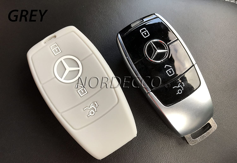 Nero//solo Keyless GO Cover Guscio Chiave Silicone per Mercedes Classe-E S A CLA GLA GLE GLC GLK AMG Portachiavi Custodia Morbido Protezione Telecomando Auto
