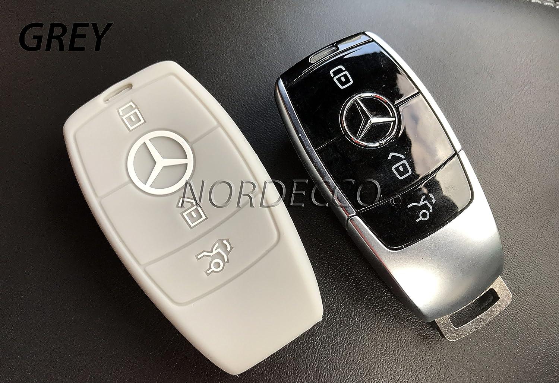 Custodia in silicone per chiave telecomando a 3 pulsanti per Mercedes-Benz Classe C 2016-17, AMG Classe E, Classe S, CLA GLA ibrido (grigio) PROTEX