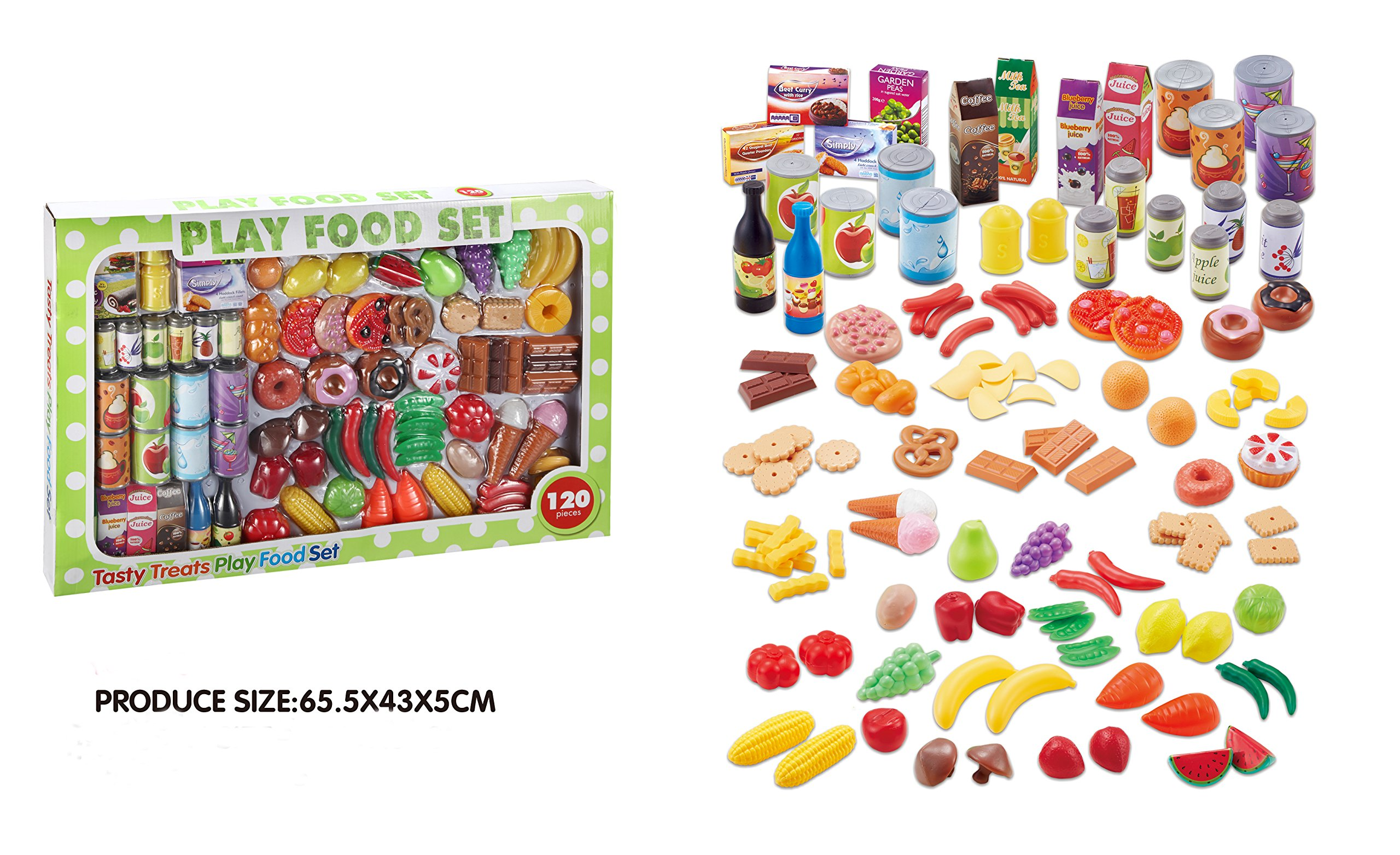 8a2ce942b5fc 120pc Play Food Set for Kids   Toy Food for Pretend Play – Huge 125 Piece  ...
