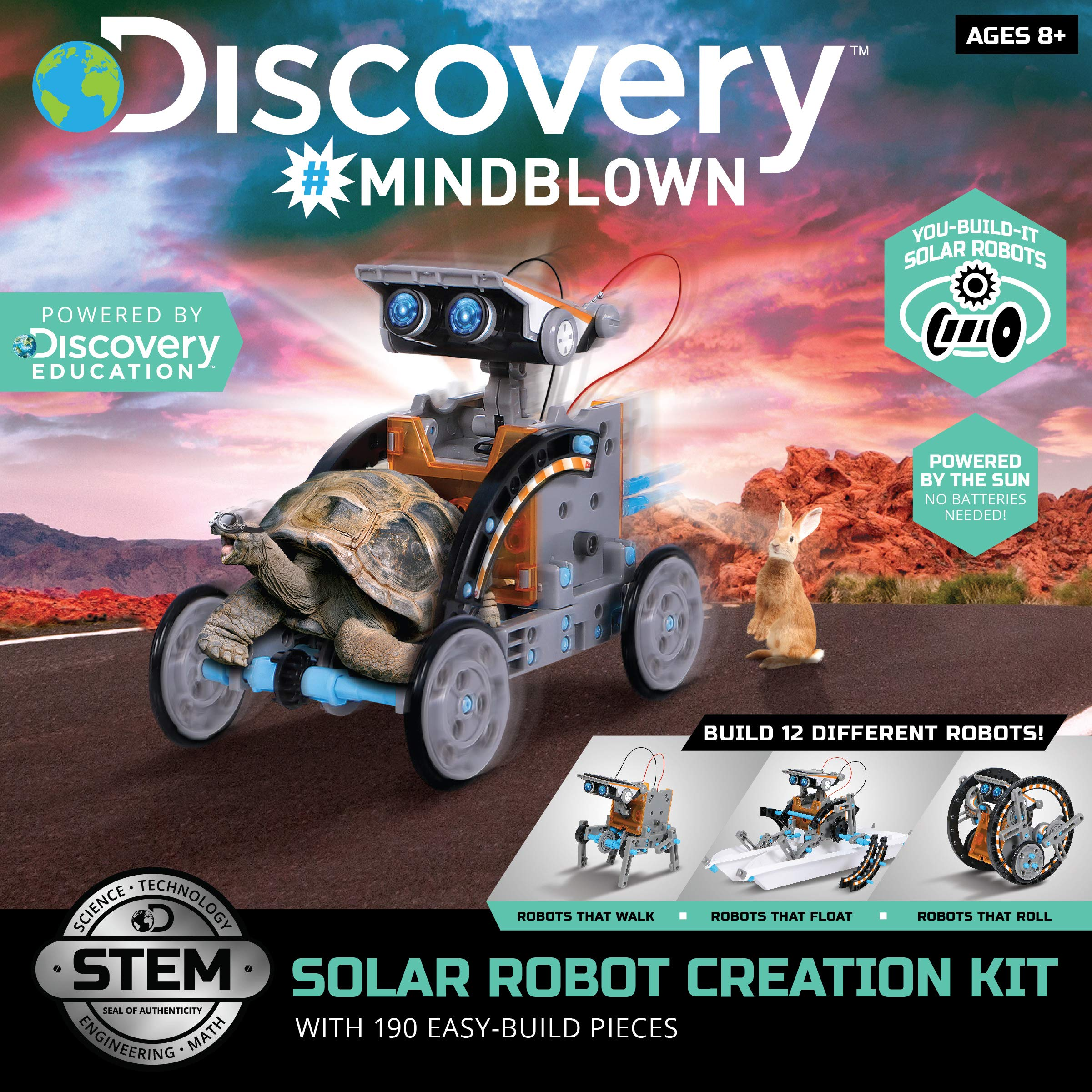 DISCOVERY KIDS Mindblown STEM 12-in-1 Solar Robot Creation 190-Piece Kit with Working Solar Powered Motorized Engine and Gears, Construction Engineering Set by Discovery Kids (Image #2)