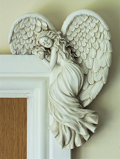 Door Frame Angel Wall Sculpture Ornament Garden Home Art Decor Secret Fairy  (right)