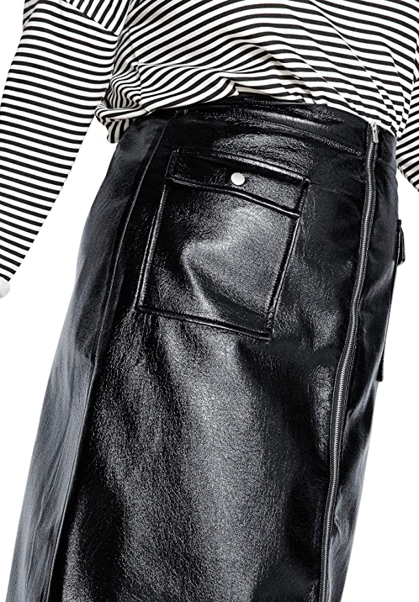 Castaluna Womens Plus Size Faux Leather Flared Skirt
