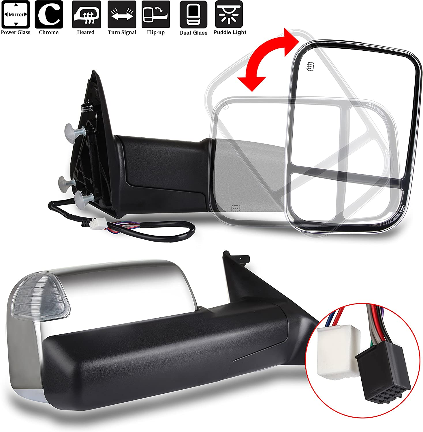 CTCAUTO Towing Mirrors Compatible with 2011-2019 Dodge Ram 1500//2500//3500 Tow Mirrors with Driver and Passenger Side Power Adjustment Heated with Turn Signal Light Puddle Light