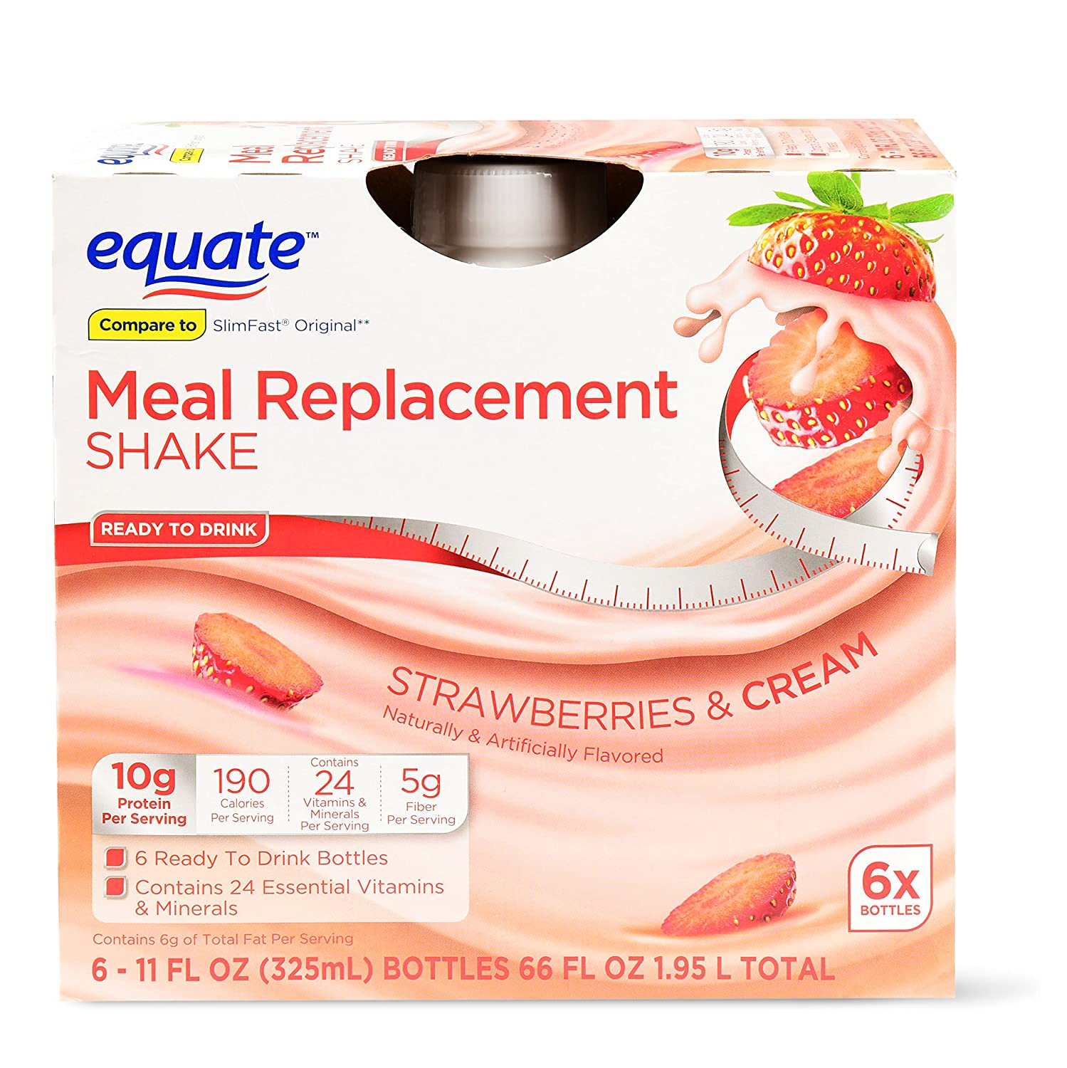 Amazon Com Pack Of 6 Equate Meal Replacement Shake Strawberries Cream 66 Oz Grocery Gourmet Food
