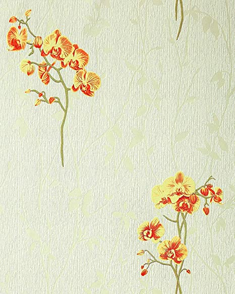 Wallcovering Wallpaper Wall Floral Pattern Orchid Flowers EDEM 122 35 Light Green Yellow Red
