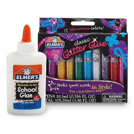 Elmer's Washable Glue Bundle, 10 Glitter Pens plus 4-Ounce Bottle of White School Glue