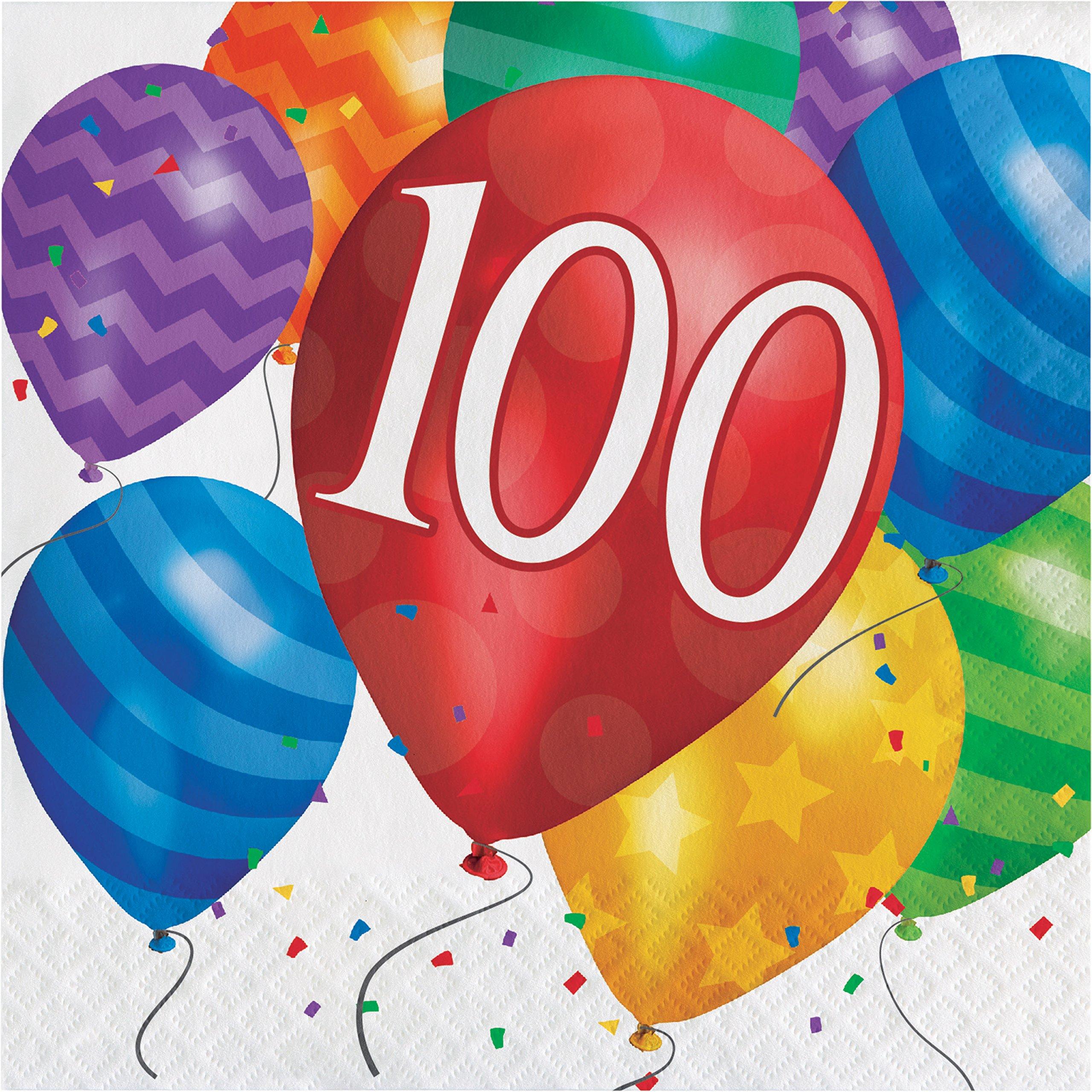 Balloon Blast 100th Birthday Napkins, 48 ct