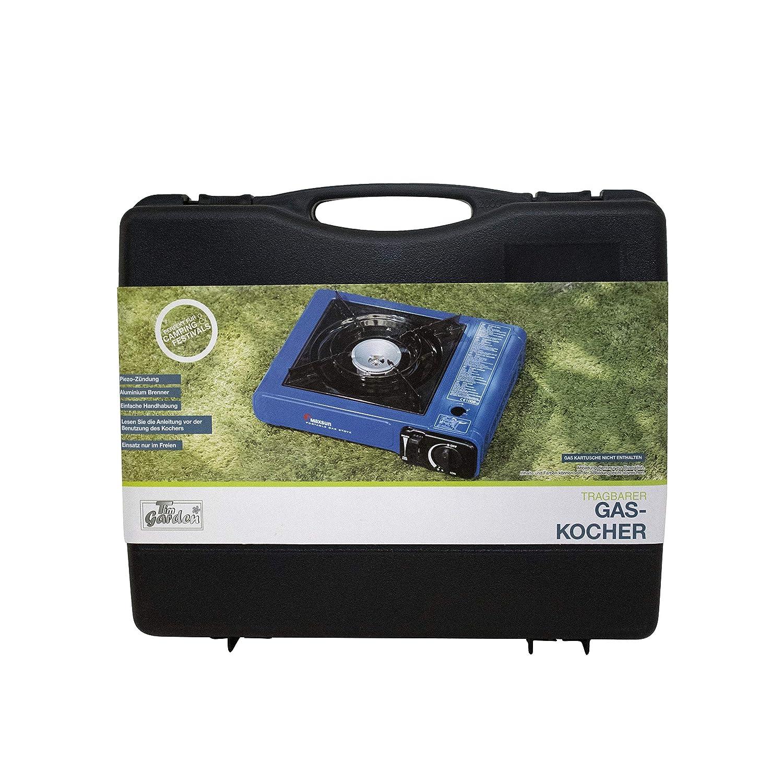 CAMPER Cocina de gas portátil con maletín y 8 cartuchos de gas: Amazon.es: Deportes y aire libre