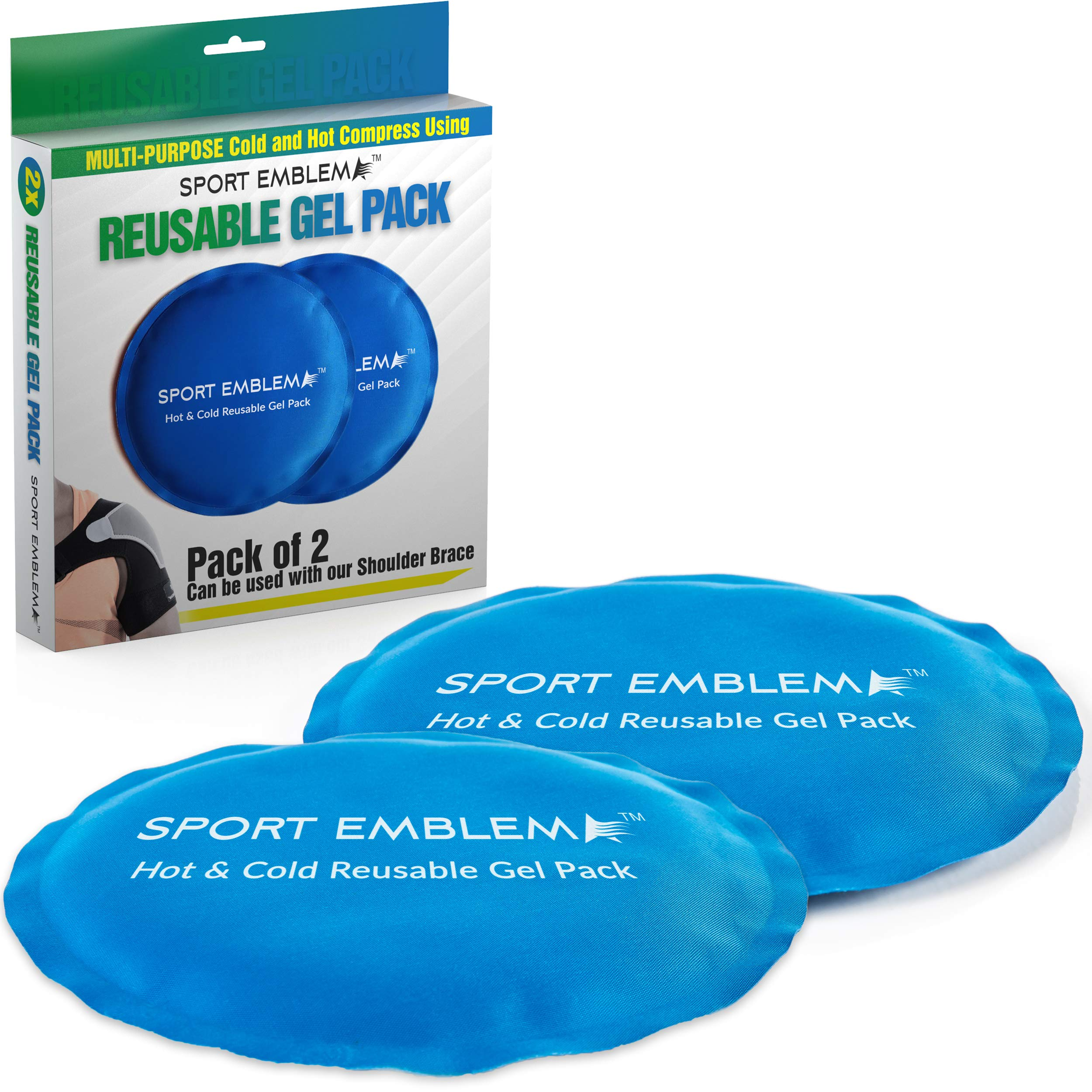 Ice Packs for Injuries Reusable, 2 x Gel Packs for Icing Injuries Kids or Adults, Hot or Cold Compress Microwavable and Refreezable, Gel Ice Packs Reusable by Sport Emblema
