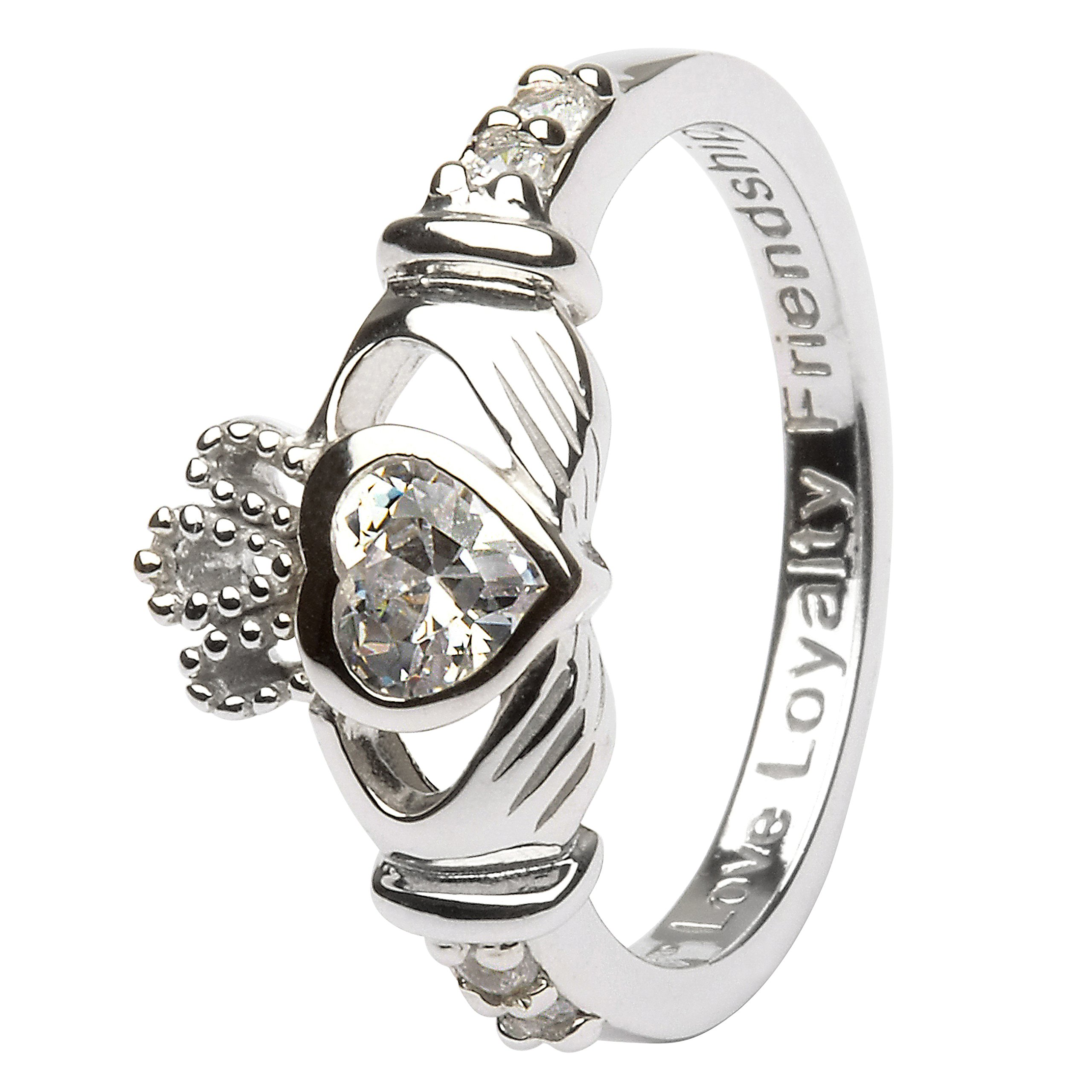 APRIL Birth Month Silver Claddagh Ring LS-SL90-4 - Size: 6 Made in Ireland.