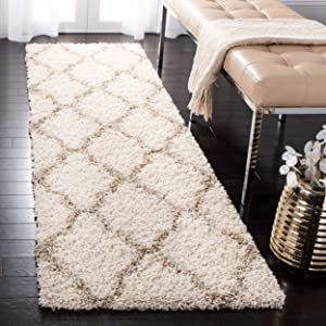 """Safavieh Dallas Shag Collection SGD257B Ivory and Beige Runner (2'3"""" x 8')"""