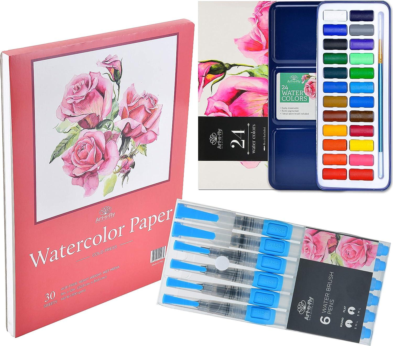 Art-n-Fly Watercolor on The Go Bundle: 24 Watercolor Set + 6 Water Brush pens + 30 Sheets Watercolor Paper