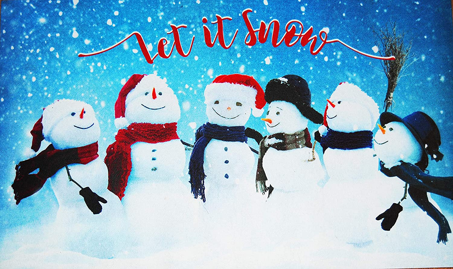 Changing Seasons Felted Rubber Indoor or Outdoor Mat 18 x 30 Blue Snowmen