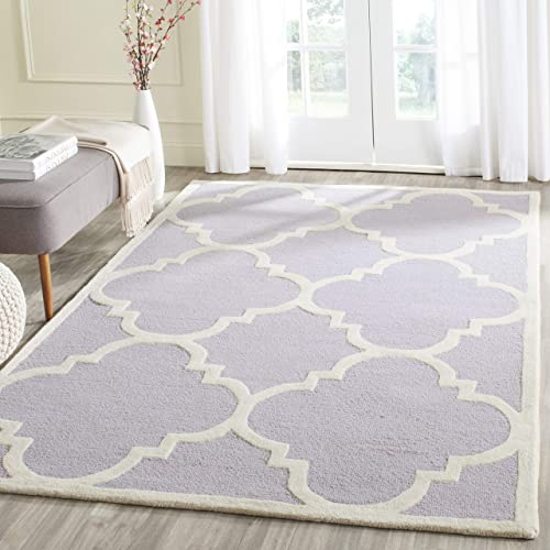 Safavieh Cambridge Collection CAM140C Handcrafted Moroccan Geometric Lavender and Ivory Premium Wool Area Rug 5' x 8'