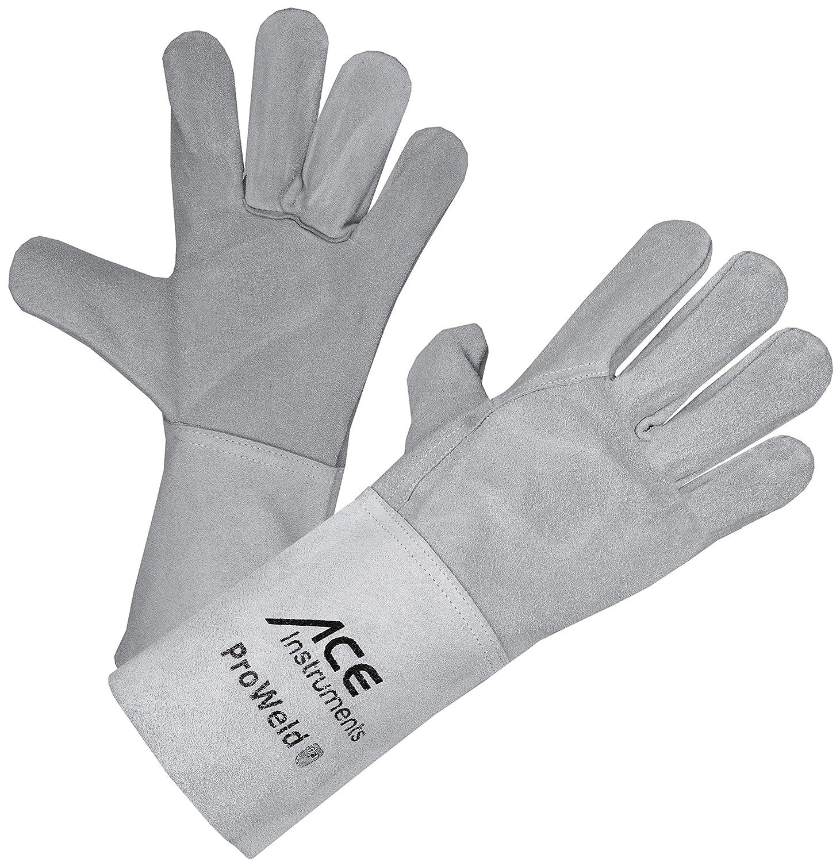 ACE Welding Gloves, Leather Heat Resistant Gauntlets EN 388 & EN 12477, Size 10 L