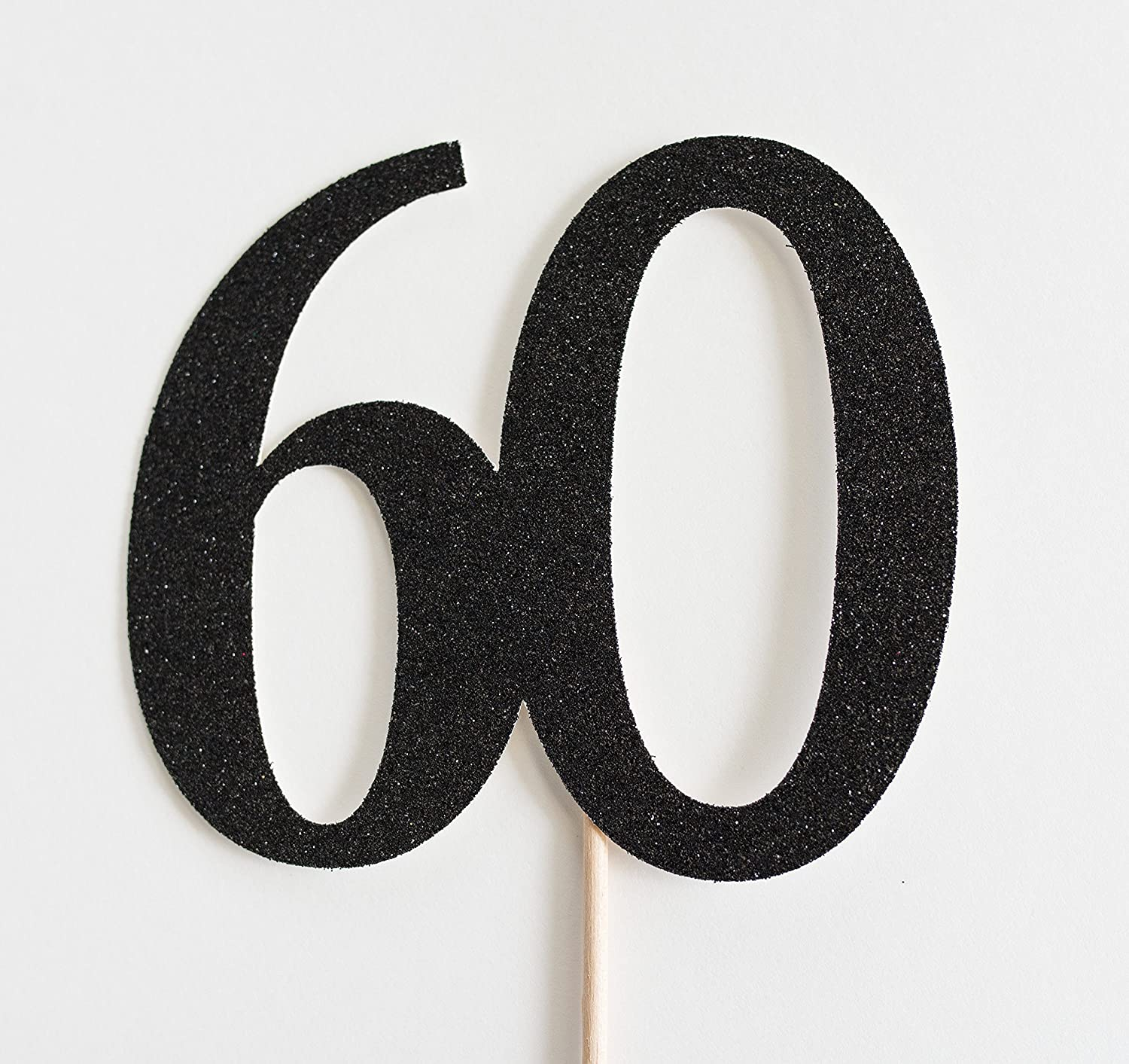 Black Glitter 60 Cake Topper, 60th Anniversary, Sixtieth Birthday, Sixty