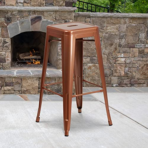 Best outdoor bar stool: Flash Furniture Commercial Grade 4 Pack 30″ High Backless Copper Indoor-Outdoor Barstool