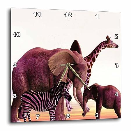 3dRose DPP_48977_2 African Safari with Elephant, Giraffe Zebra Wall Clock, 13 by 13