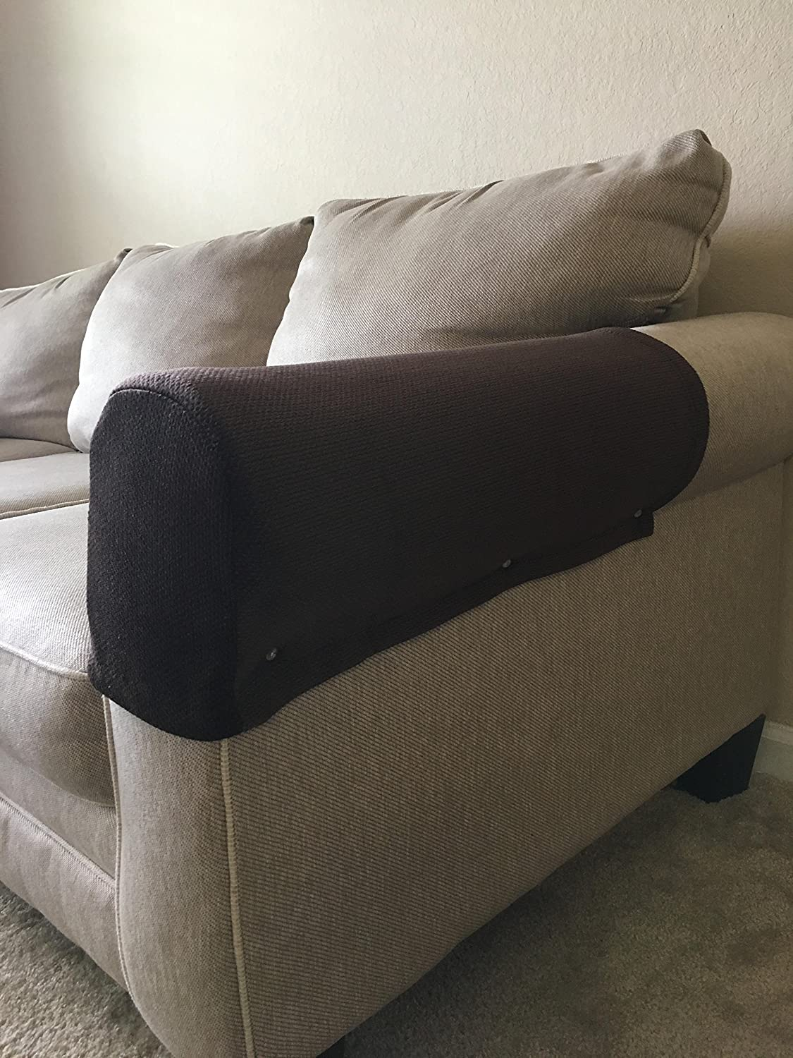 Tedperf Goods Couch Arm Covers Two Thick Dark Brown
