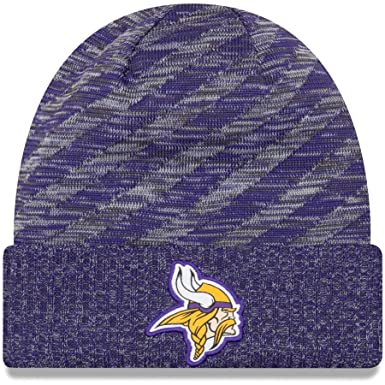 official photos fe5bd 5bded New Era Minnesota Vikings Knit On Field 18 TD Winter Hat Grey Purple Size  One