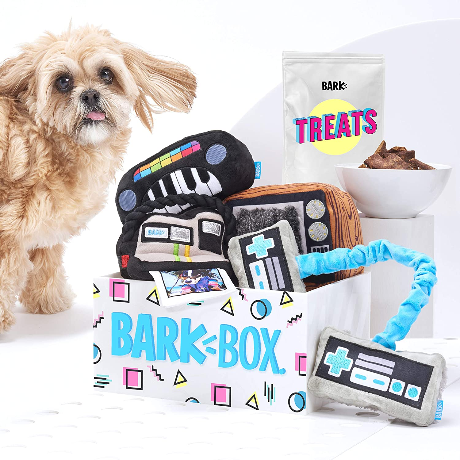 Bark Box Supersized 90s Throwback Electronic Dog Toy Bundle; Four Toys And One Bag Of All Natural Treats Made In The Usa by Bark Box