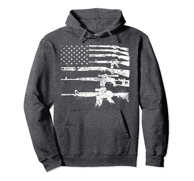 USA Guns Weapons Flag Rifles Stripes Armed America Hoodie