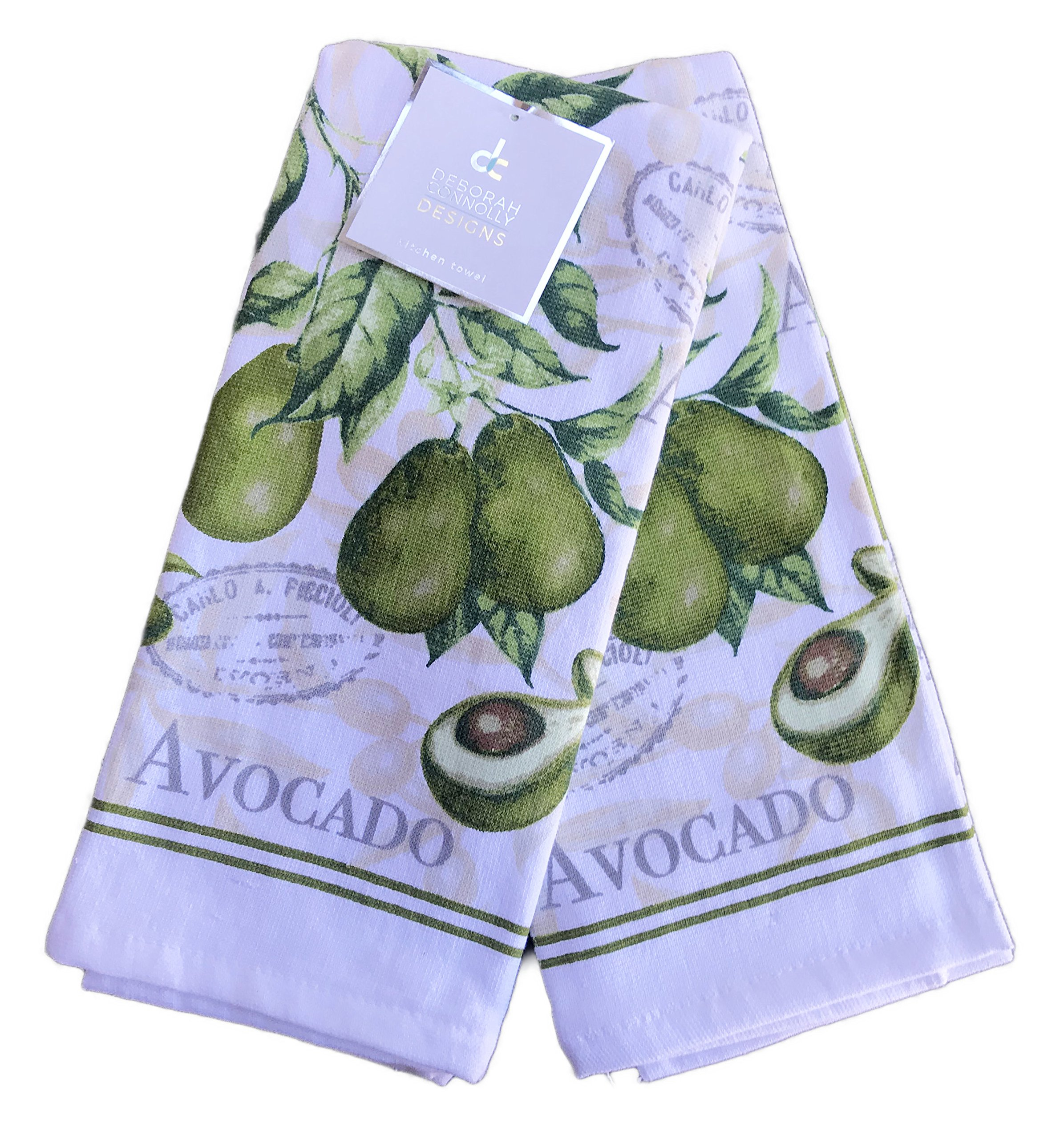Deborah Connolly Avocado Themed Set of Two Kitchen Towels