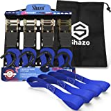 EXTRA LONG Ratchet Tie Down Straps 20 Ft - 4 Pk 1500 Lbs Break Strength + 4 Soft Loop Tie Down Straps 1200 Lbs Capacity + Carry Bag - Weather Res, Cargo Straps - Cambuckle Alter - Ergonomic Grip