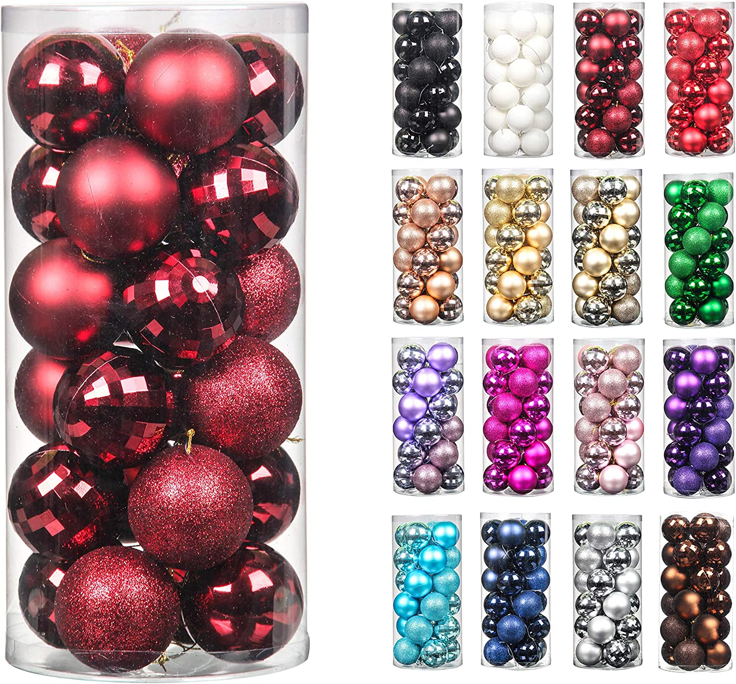 24pcs 2.36in Christmas Decoration Balls Shatterproof Color Set Ornaments Balls for Festival Wedding Home Party Decors Xmas Tree Hanging ( Burgundy)