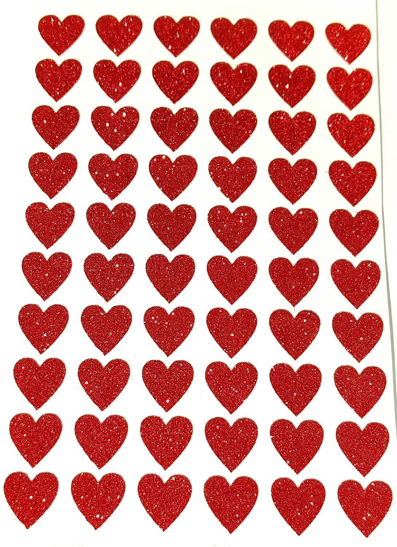 Glitterati 60 adesivi cuore rosso 20 mm