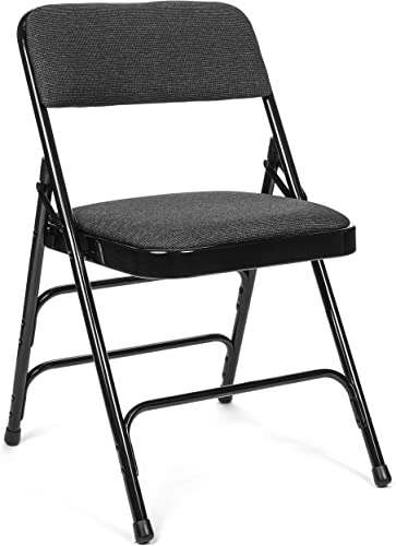 Commercial Fabric Padded Folding Chair, Triple Cross Bracing, Quad Hinging, 300 lb Tested, 4 Pack Black