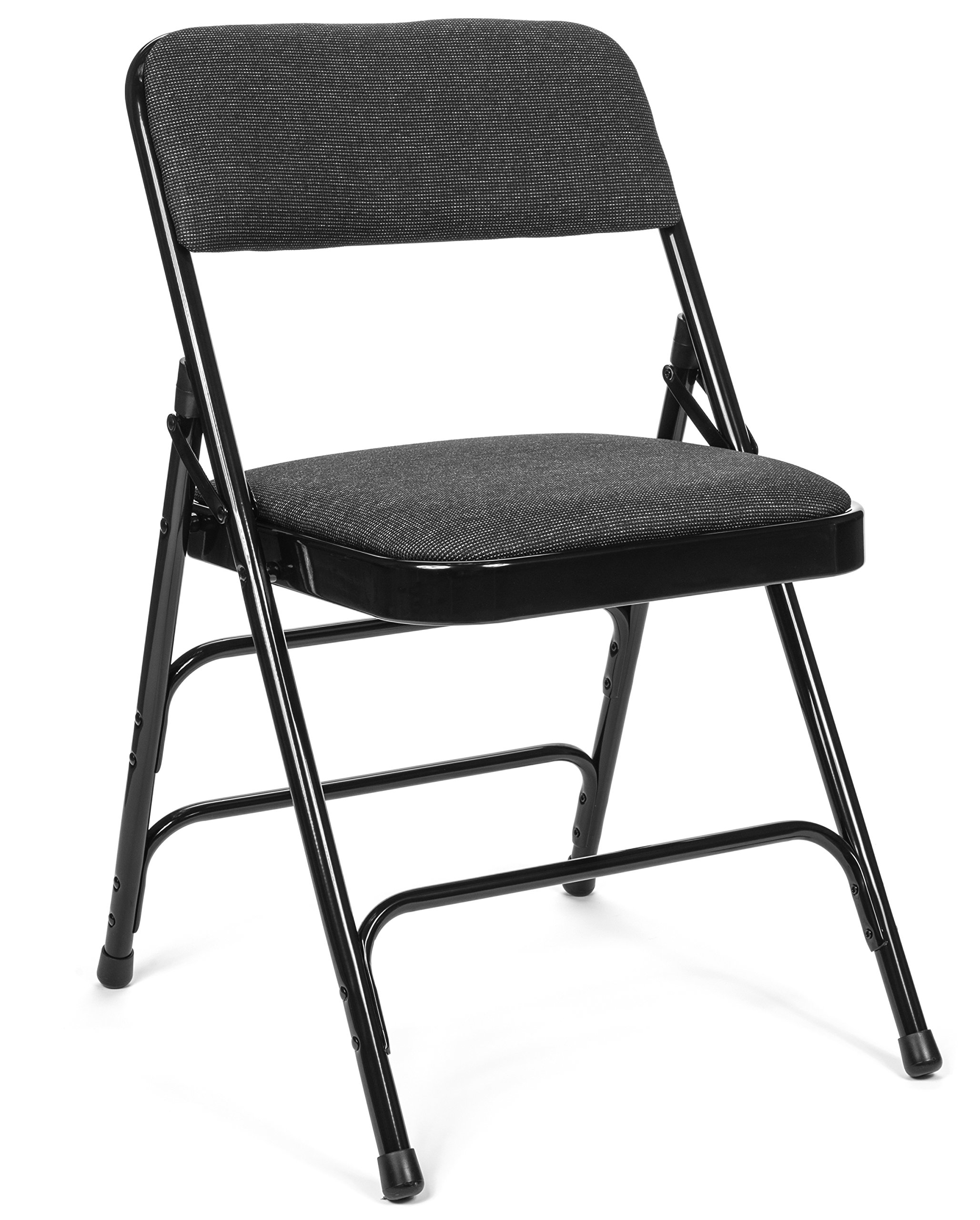 Commercial Fabric Padded Folding Chair, Triple Cross Bracing, Quad Hinging, 300 lb Tested, 4 pack (Black)