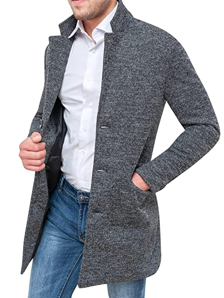 Cappotto uomo sartoriale grigio tweed casual elegante slim fit giacca  soprabito invernale (s) 48ae14409c4