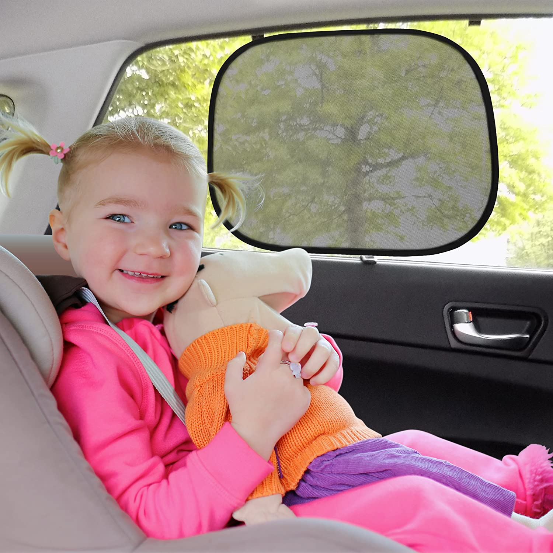 Car Window Shade for Baby 2 Pack   Block Sun Glare Heat & UV Rays  Static Cling Sun Block for Baby Kids & Passengers Lush Life