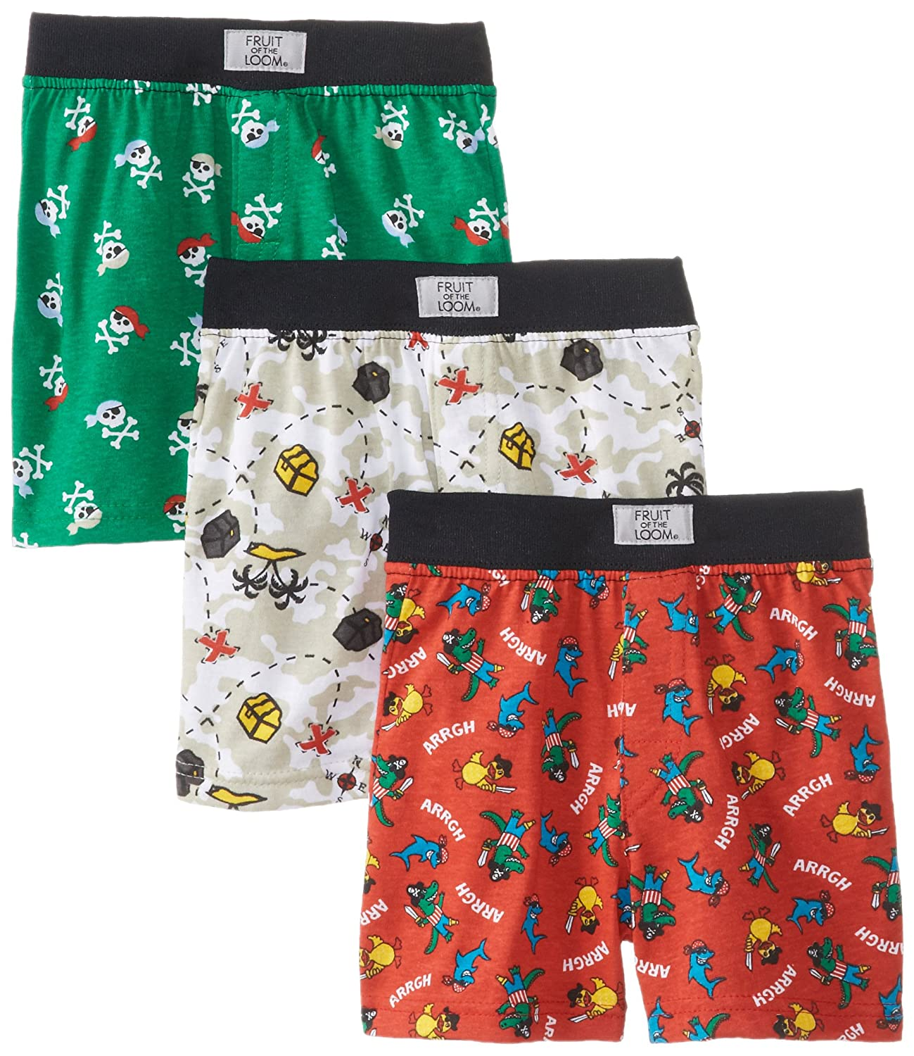 Fruit of the Loom Little Boys  Covered Waistband Knit Boxer Underwear Pack of 3 Pack of 3 Assorted Prints 4T Fruit of the Loom Boys 2-7 FTL-3PB540T
