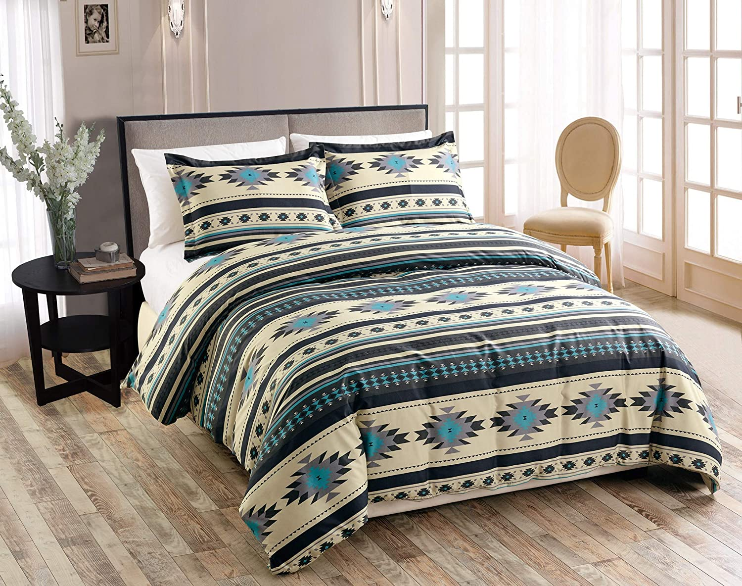 Chezmoi Collection 2-Piece Southwestern Geometric Tribal Multicolor Teal Beige Black Gray Duvet Cover Set - Zipper Closure and Corner Ties, Twin Size