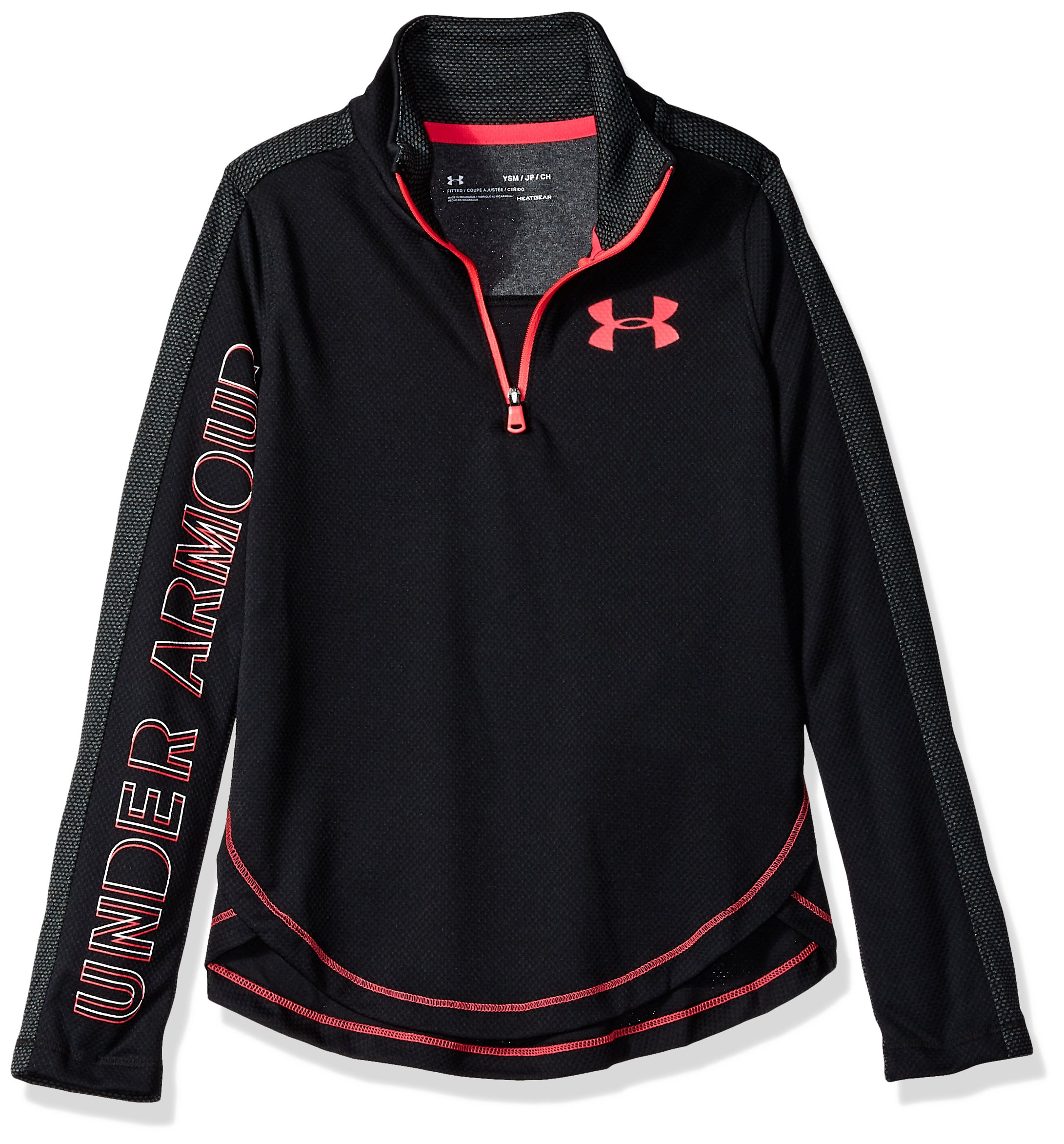 Under Armour Girls Tech 1/2 Zip, Black (001)/Penta Pink, Youth Medium
