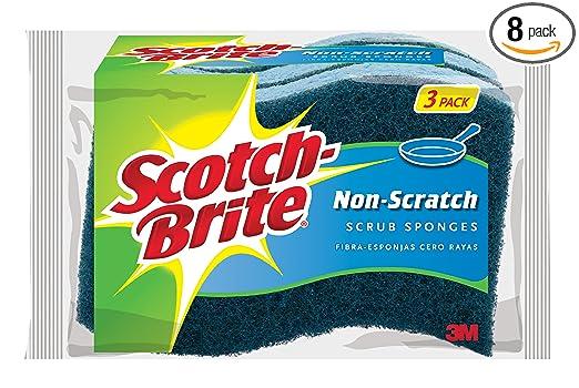 Scotch-Brite Scrub Sponge,  Non-Scratch, 3-Count (Pack of 8)
