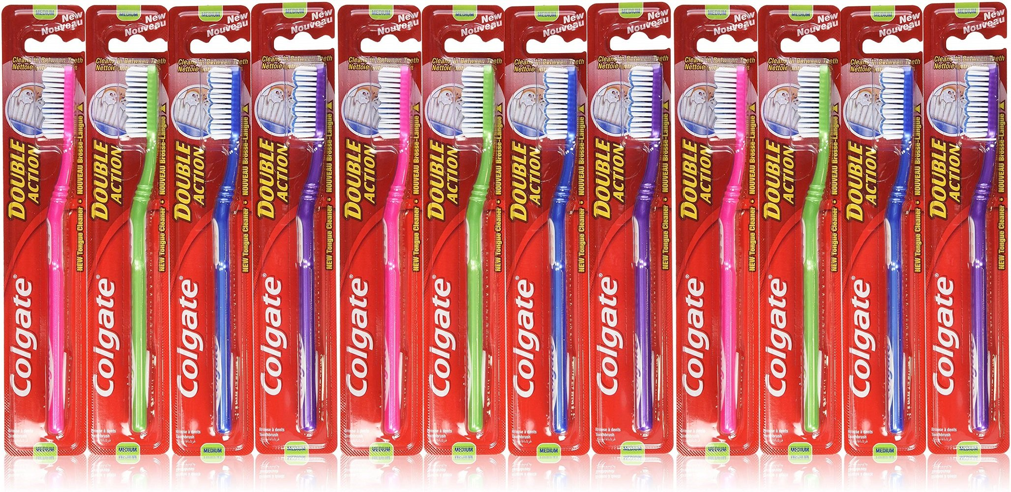 Colgate Toothbrush Double Action, Medium (Pack of 12)