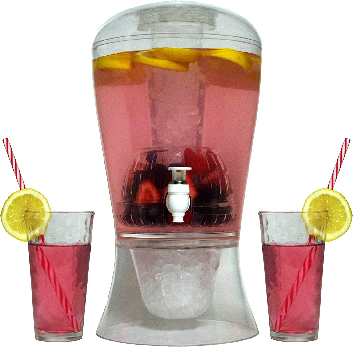 Oaklyn Large 2 Gallon Beverage Dispenser On Stand With Spout - Ice Base And Core Keep Juice And Drinks Cold - Shatterproof Acrylic Jug With Fruit And Tea Infuser And Spigot Perfect For Parties