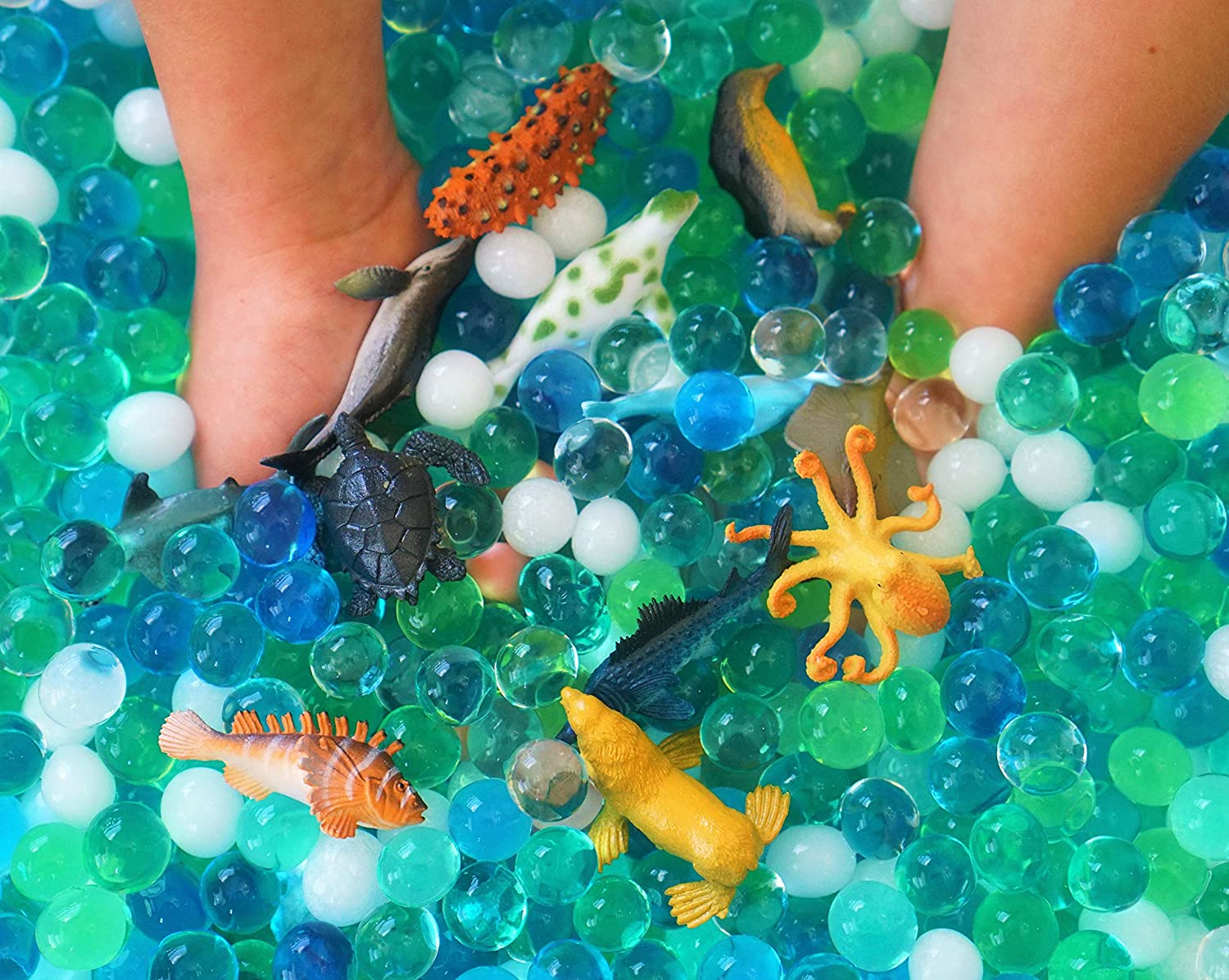 SENSORY4U Dew Drops Water Beads Ocean Explorers Tactile Sensory Kit - Sea Animal Creatures Included - Great Fine Motor Skills Toy for Kids Glamping Gadgets