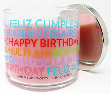 Bath Body Works Candle 3 Wick 145 Ounce Happy Birthday Cranberry Pear Bellini