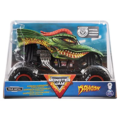 Monster Jam, Official Dragon Monster Truck, Die-Cast Vehicle, 1:24 Scale: Toys & Games