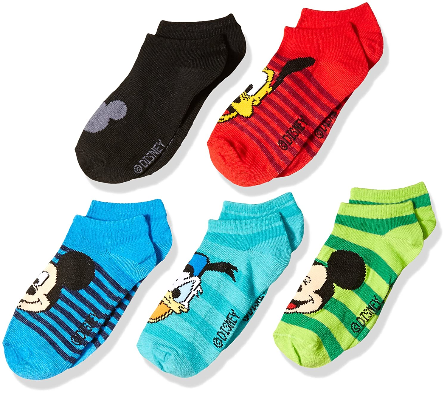 Disney Boys' Mickey Mouse 5 Pack No Show Socks Assorted Bright 6-8.5 41590138G20AZ