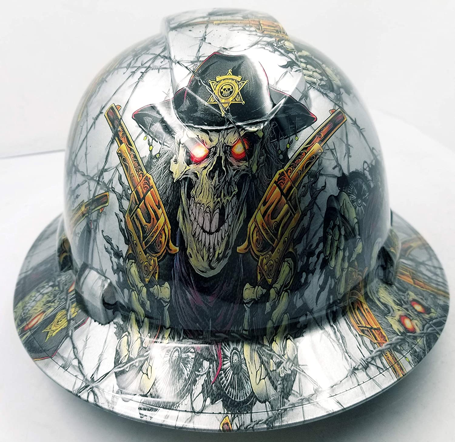 Wet works imaging customized pyramex full brim dirty dirty harry hard hat with ratcheting suspension custom lids crazy sick construction ppe amazon com