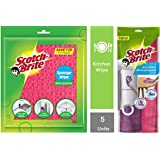 Scotch-Brite Sponge Wipe (5 Pcs) & Microfiber Multipurpose Wipe (Pink and Purple, Pack of 2) Combo