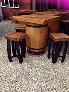Handmade Solid Oak Recycled Square Topped Whisky Barrel Pub Table U0026 4 Stool  Set