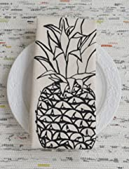 Organic Cotton Pineapple Tea Towel in Black